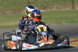 Justin Ruggier behind the wheel of his BRM kart
