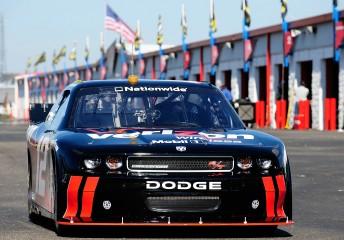 Penske's #12 Verizon Dodge Challenger RT Nationwide COT leaves the garage