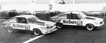 Brock wins from Harvey in a HDT 1-2 in the 1979 Hang Ten 400 at Sandown