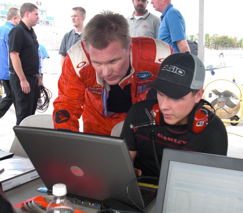 Mika Salo and Trevor Bayne compare data in Florida today