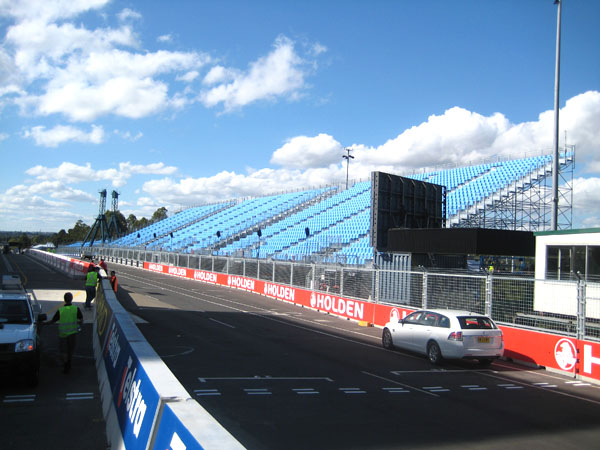 The massive grandstand that overlooks the start-finish straight