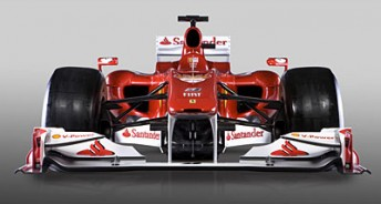 The Ferrari F10 features a similar nose design to the Red Bull car from 2009