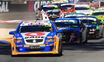 Gary Baxter leads the V8 Ute field at last year's Clipsal 500 support race in Adelaide