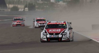 The V8 Supercars during qualifying at the Bahrain International Circuit (note the dust storm prior that hit the track prior to the session!)