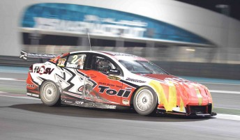 Garth Tander's Commodore was in slightly second-hand condition after the first race of the season at Yas Marina Circuit