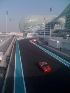 Michael Patrizi driving the Chevrolete Lumina around the Yas Hotel in Abu Dhabi