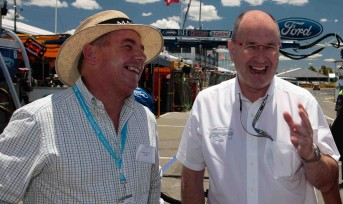 WA sports minitser Terry Waldron with V8 Supercars executive chairman Tony Cochrane at Barbagallo Raceway last year