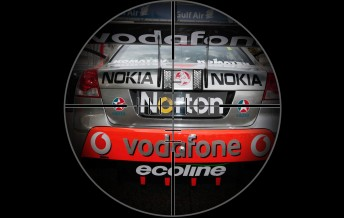 Jamie Whincup's TeamVodafone Commodore is in his rival's sights
