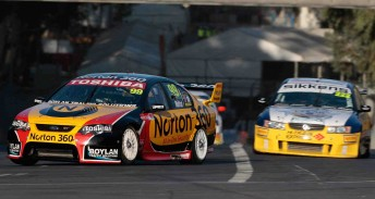 James Moffat leads Nick Percat at the Clipsal 500
