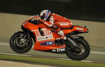 Casey Stoner at the Qatar circuit during qualifying