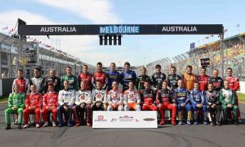 The V8 Supercars group shot at this year's Formula One Qantas Australian Grand Prix