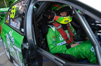 Paul Dumbrell inside his #55 The Bottle-O Racing Ford Falcon FG