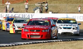 Steve Owen leads the Fujitsu Series pack at Queensland Raceway two weeks ago