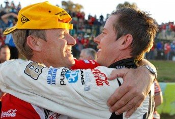 Charlie Schwerkolt embraces James Courtney after his win at Witon last month