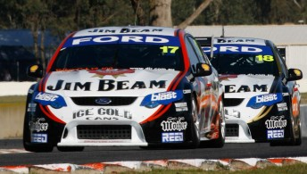 Steve Johnson leads James Courtney at Winton. Johnson says that he wants to see both Jim Beam Falcons run one-two in this year's title