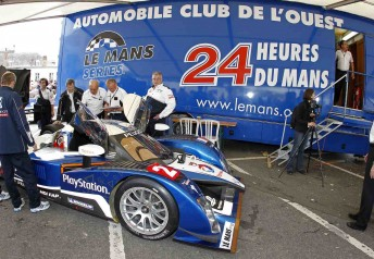 Onr of the Peugeots goes through scrutineering before the first qualifying session at Le Mans
