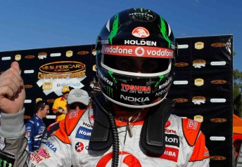 TeamVodafone's Jamie Whincup on the Hidden Valley podium