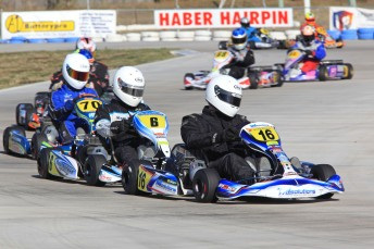 Shay Mayes on his way to victory in the Clubman Heavy category in Mackay. Pic: Paul Carruthers/kartx.com.au