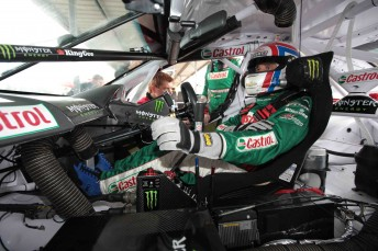 Yvan Muller inside the Castrol EDGE Commodore at Queensland Raceway