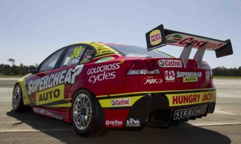 The rear of Russell Ingall's Supercheap Auto Racing Commodore VE