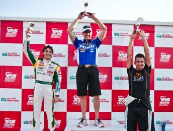 Jules Bianchi (left), Mark Winterbottom and Fabian Coulthard on the podium