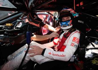 Jenson Button inside the TeamVodafone Commodore VE at Albert Park last March. His Bathurst laps next month will be the second time he has driven a V8 Supercar