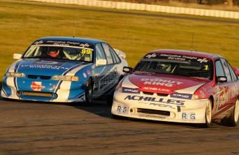 Drew Russell (left) and Dean Croswell (right) fought hard for second place - and what would eventually be the race win today at Winton