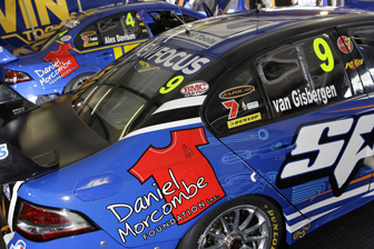 The rear doors of the Shane van Gisbergen and Alex Davison Falcons with the Daniel Morcombe Foundation logos
