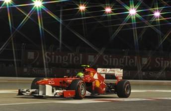 Felipe Massa's Ferrari under the Singapore lights