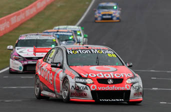Jamie Whincup leads the field in one of the earlier, drier sessions