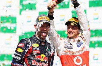 Webber and Button celebrate