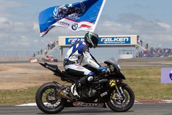 Glenn Allerton celebrates his second Australian Superbike crown