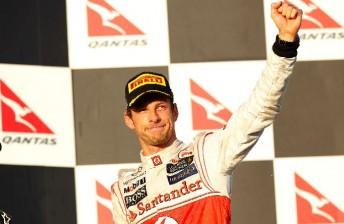 Jenson Button on the podium