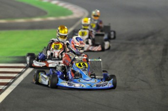 Mawson on his way to victory at the final round of the 2012 CIK-FIA Under 18 World Karting Championship(Pic: KSP)