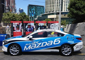 The 'Snow Flake White Pearl' paint scheme of the Mazda6 Celebrity Challenge race car