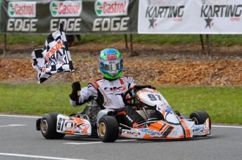 Pro Junior (KFJ) winner Liam McLellan on his victory lap (Pic: AF Images/Budd)
