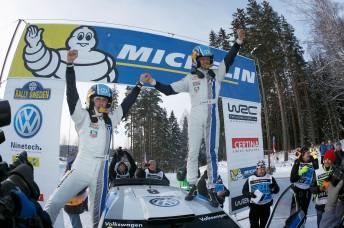 Sebsatien Ogier (right) and co-driver Julien Ingrassia celebrate in Sweden