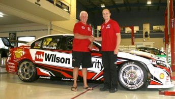 Dick Johnson and Tim Blanchard with the red Wilson Security-Shell Ford