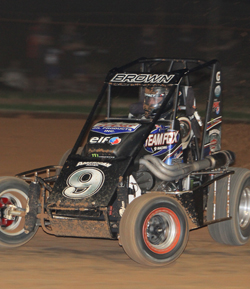 Local racer Mark Brown won the 50-Lap Speedcar Classic at Sydney Speedway