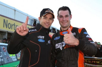 Youlden (left) with Van Gisbergen after their 2012 Sandown 500 pole position