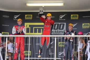 Scott McLaughlin celebrates his maiden Championship win on home soil.