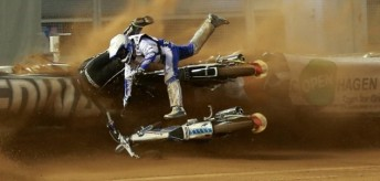 Nicki Pedersen (airborne) joins Australian Darcy Ward on the injured list after a torrid Swedish SGP