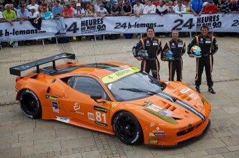 The 8Star driver line-up and car in the centre of Le Mans