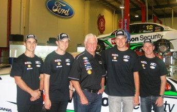 Dick Johnson flanked by his full endurance squad