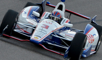 Helio Castroneves winning the Firestone 550 at Texas last weekend