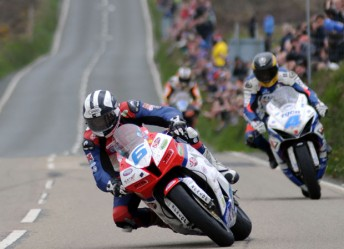 Michael Dunlop ahead of Guy Martin in the Supersport race