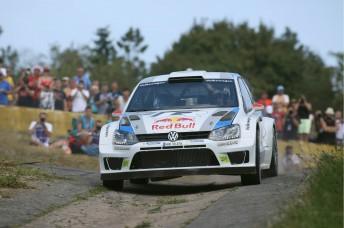 Jari-Matti Latvala holds a narrow lead in Germany