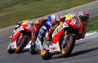 Marquez leads Lorenzo and Pedrosa