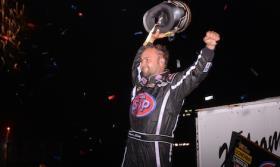Donny Schatz celebrates his incredible Knoxville win