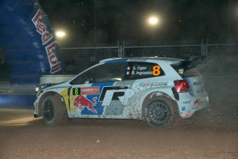 Sebastien Ogier at the opening Super Special stage in Coffs Harbour